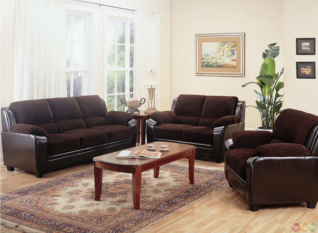 Monika two toned dark brown corduroy casual living room for Family room sofa sets