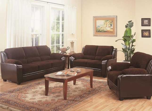 Monika Two Tone Brown Corduroy Casual Living Room Sofa Loveseat Set