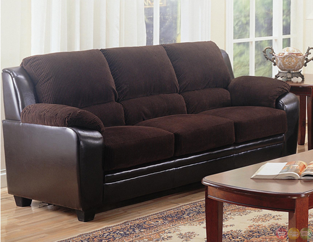 Monika Two Toned Dark Brown Corduroy Casual Living Room Sofa And Loveseat Set