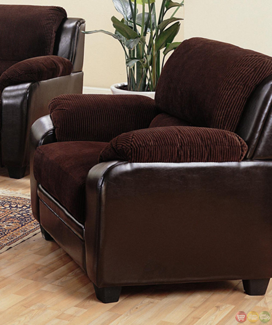 Monika two toned dark brown corduroy casual living room for Brown couch set
