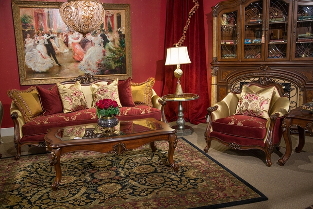 Monique Victorian Ruby Red and Gold Sofa & Loveseat in Deep English Tea