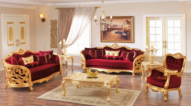 Monique Victorian Ruby Red Luxury Sofa & Loveseat Set Gold Mahogany