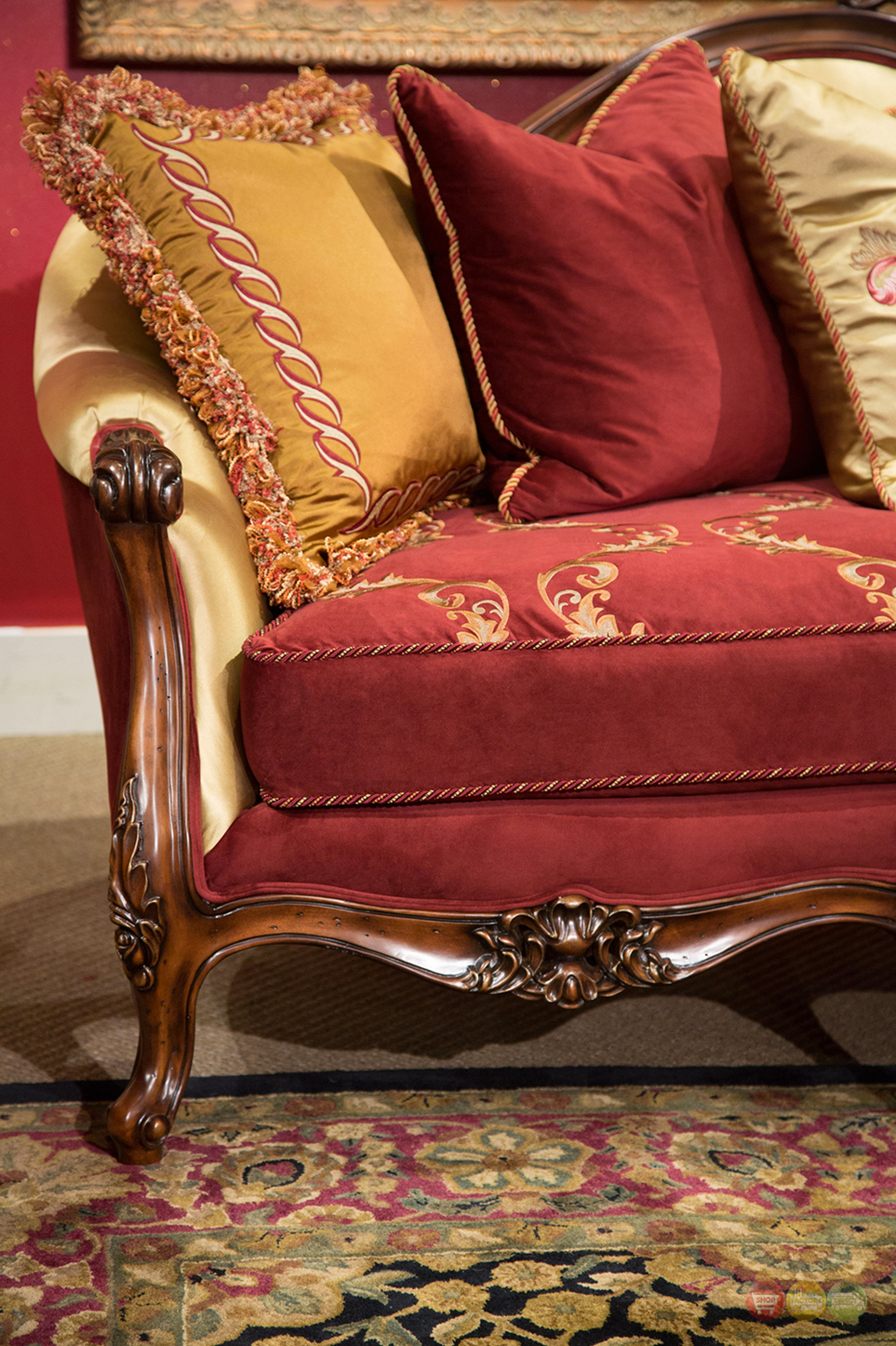 Monique Victorian Ruby Red And Gold Sofa Amp Loveseat In