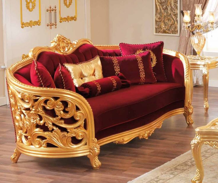 monique victorian luxury ruby red loveseat  opulent gold mahogany