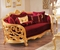 Monique Victorian Luxury Ruby Red Loveseat in Opulent Gold Mahogany