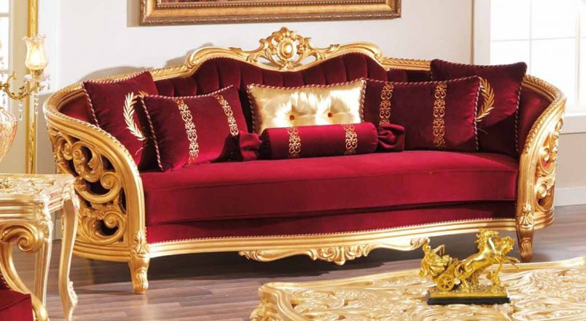 Monique Victorian Ruby Red Luxury Sofa Amp Loveseat Set Gold