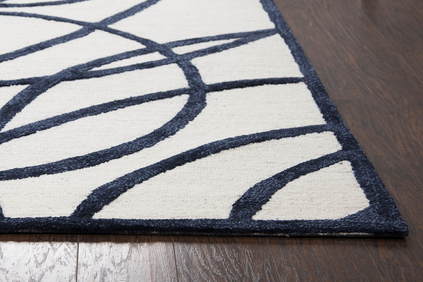 Monroe Abstract Circles Amp Lines Wool Area Rug In Off White