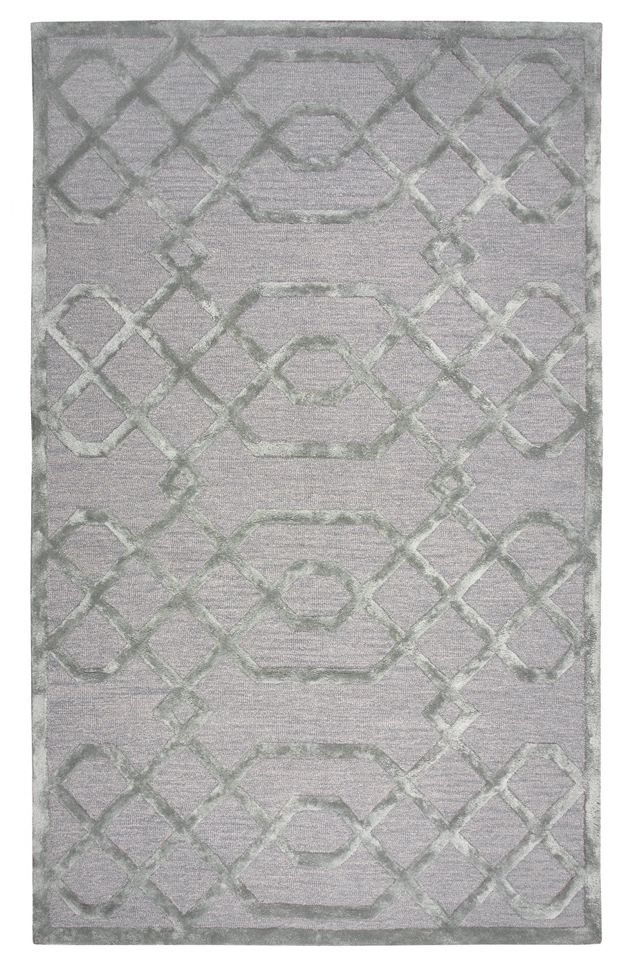 Monroe Basic Trellis Wool Area Rug In Gray Amp Silver 9 X 12