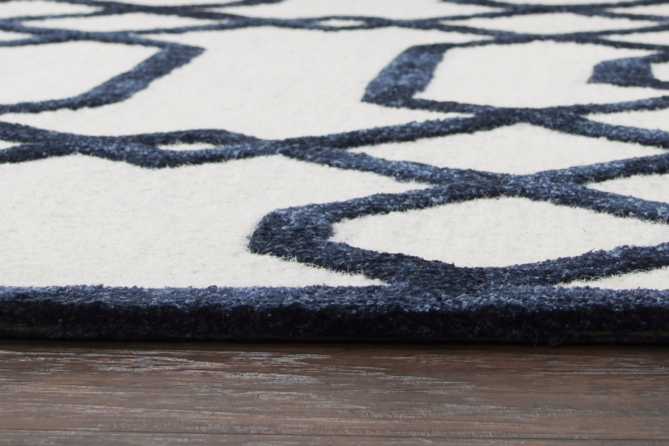 Monroe Basic Trellis Wool Area Rug In Off White Amp Black 9