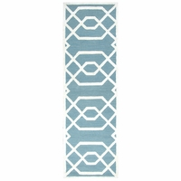 """Rizzy Monroe Soft Wool Runner Area Rug 2'6""""x 8'Teal Blue Green Off White/Trellis"""