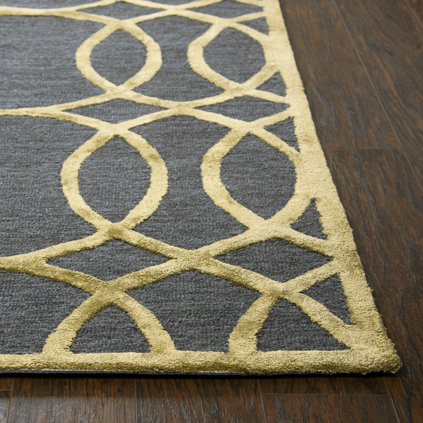 Large Area Rugs Gold: Monroe Circular Trellis Wool Area Rug In Blue & Gold, 8' X 10