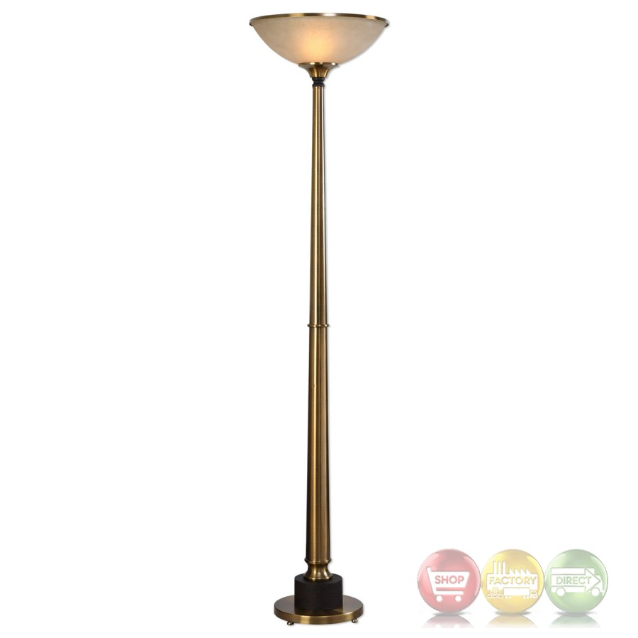 Monroe sleek brushed brass plated floor lamp with antiqued for Brass plated floor lamp
