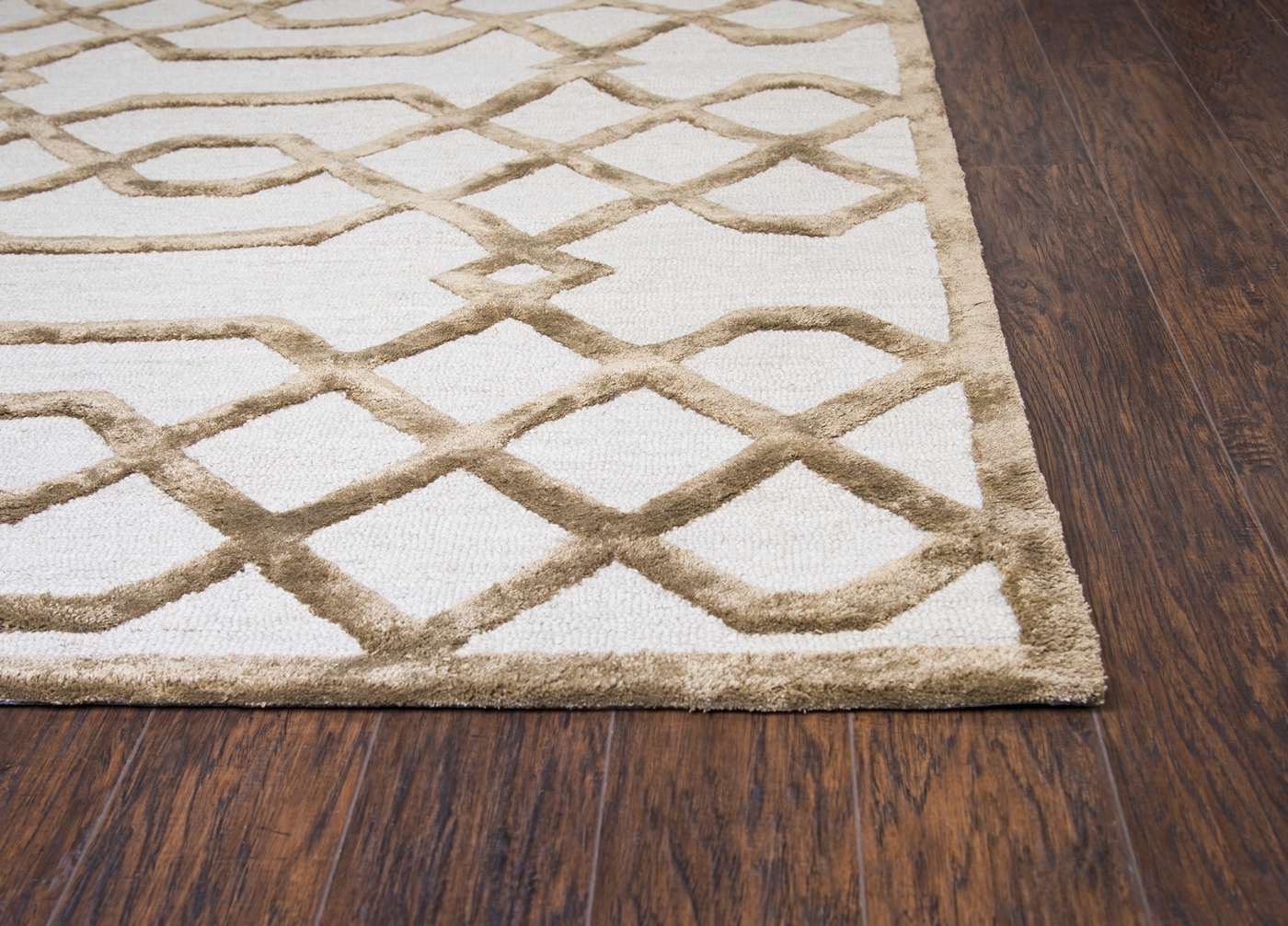 Monroe Trellis Pattern Wool Area Rug In Cream Tan 5 X 8