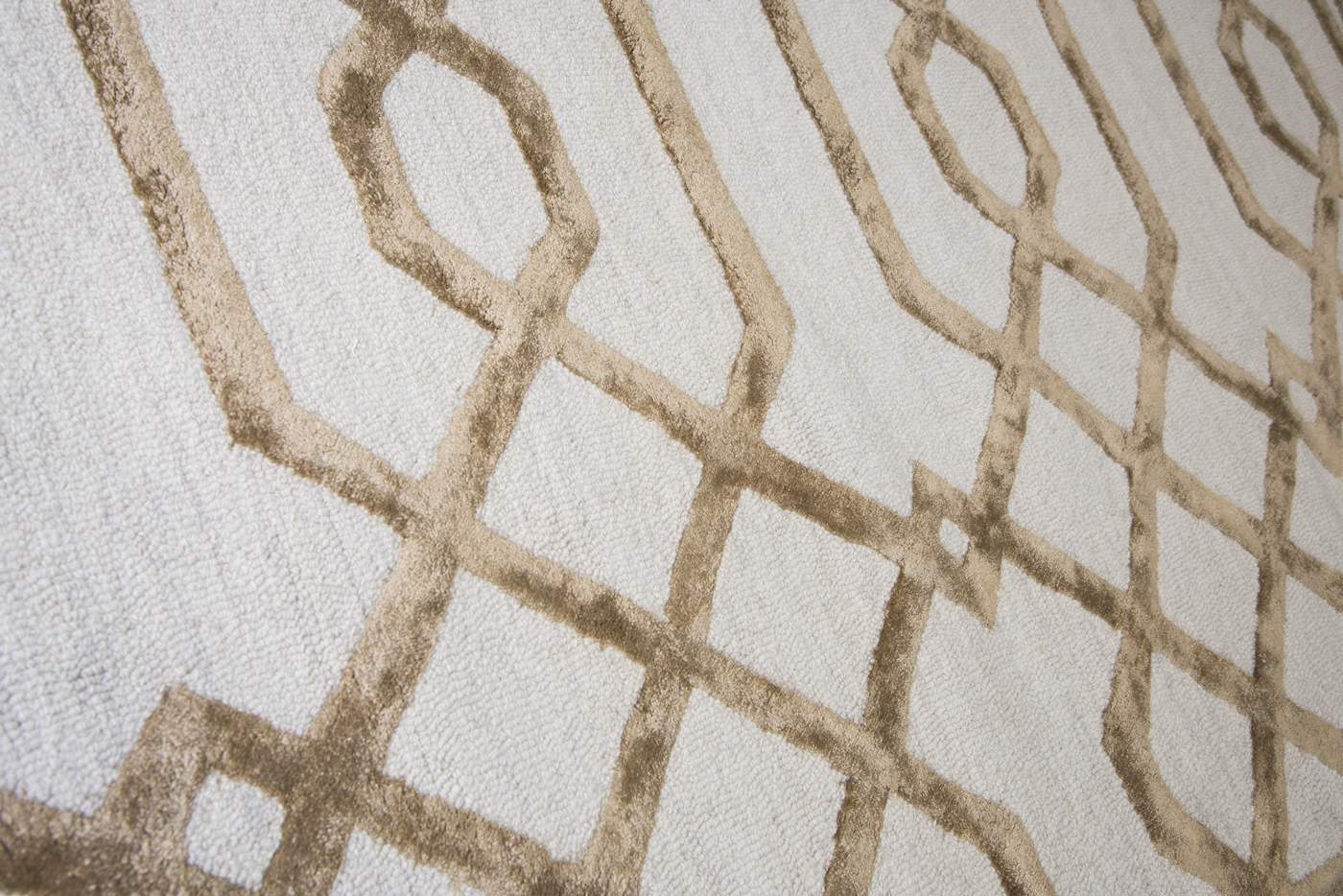 Monroe Trellis Pattern Wool Area Rug In Cream Tan 3 X 5