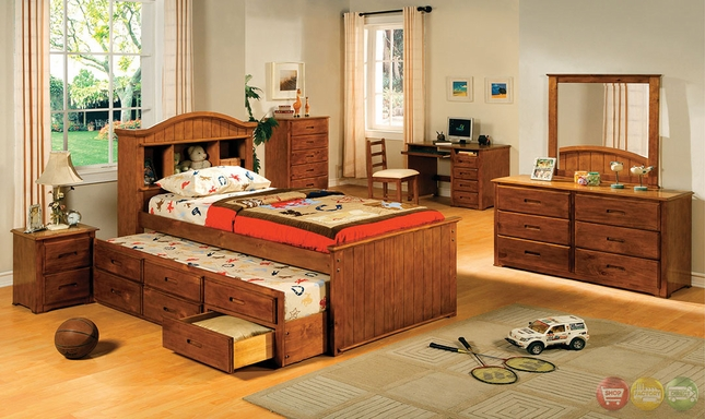 Montana I American Oak Platform Captain Bedroom Set with Bookcase ...