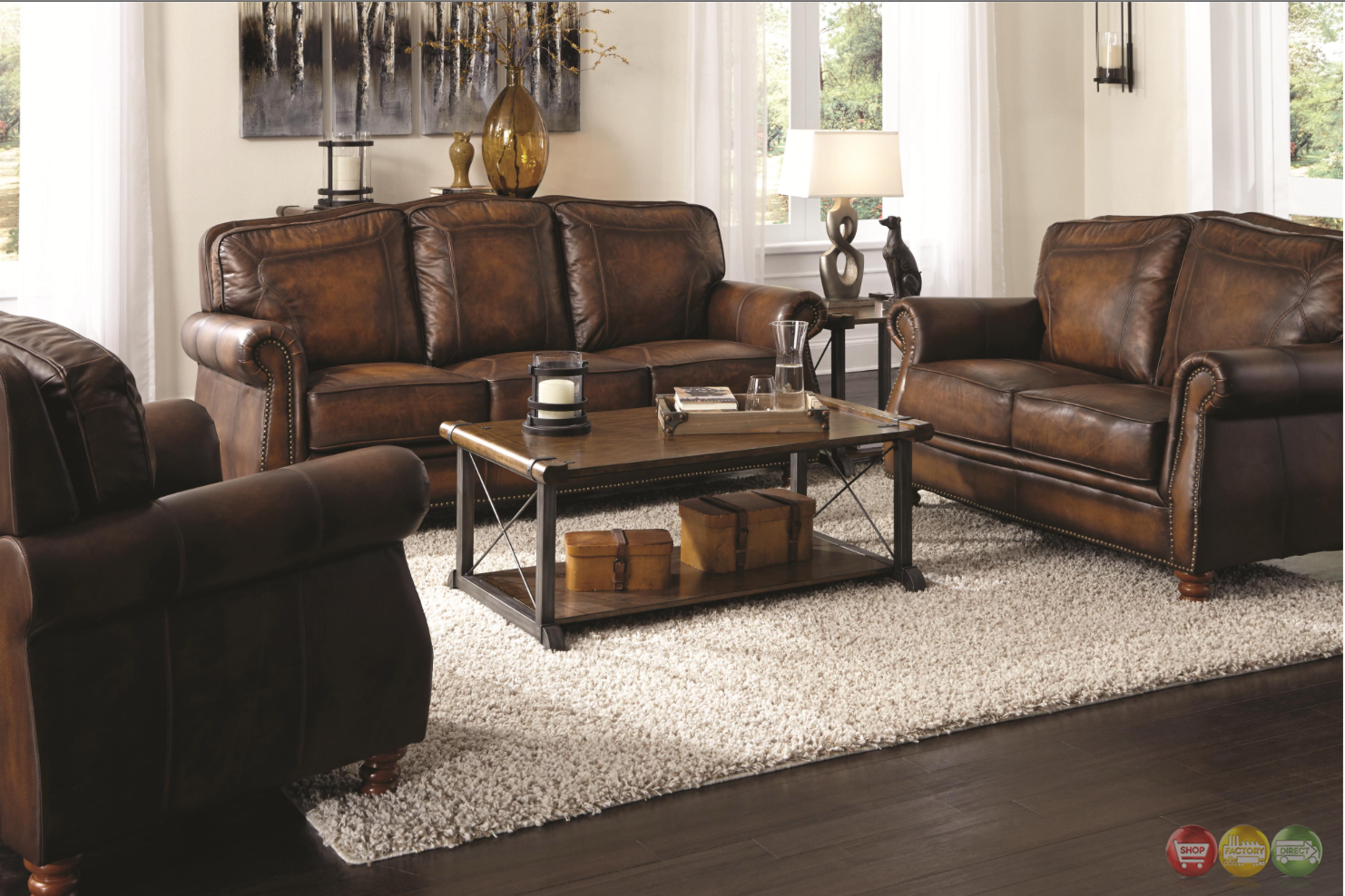 Montbrook traditional brown genuine leather sofa set for Leather sofa set