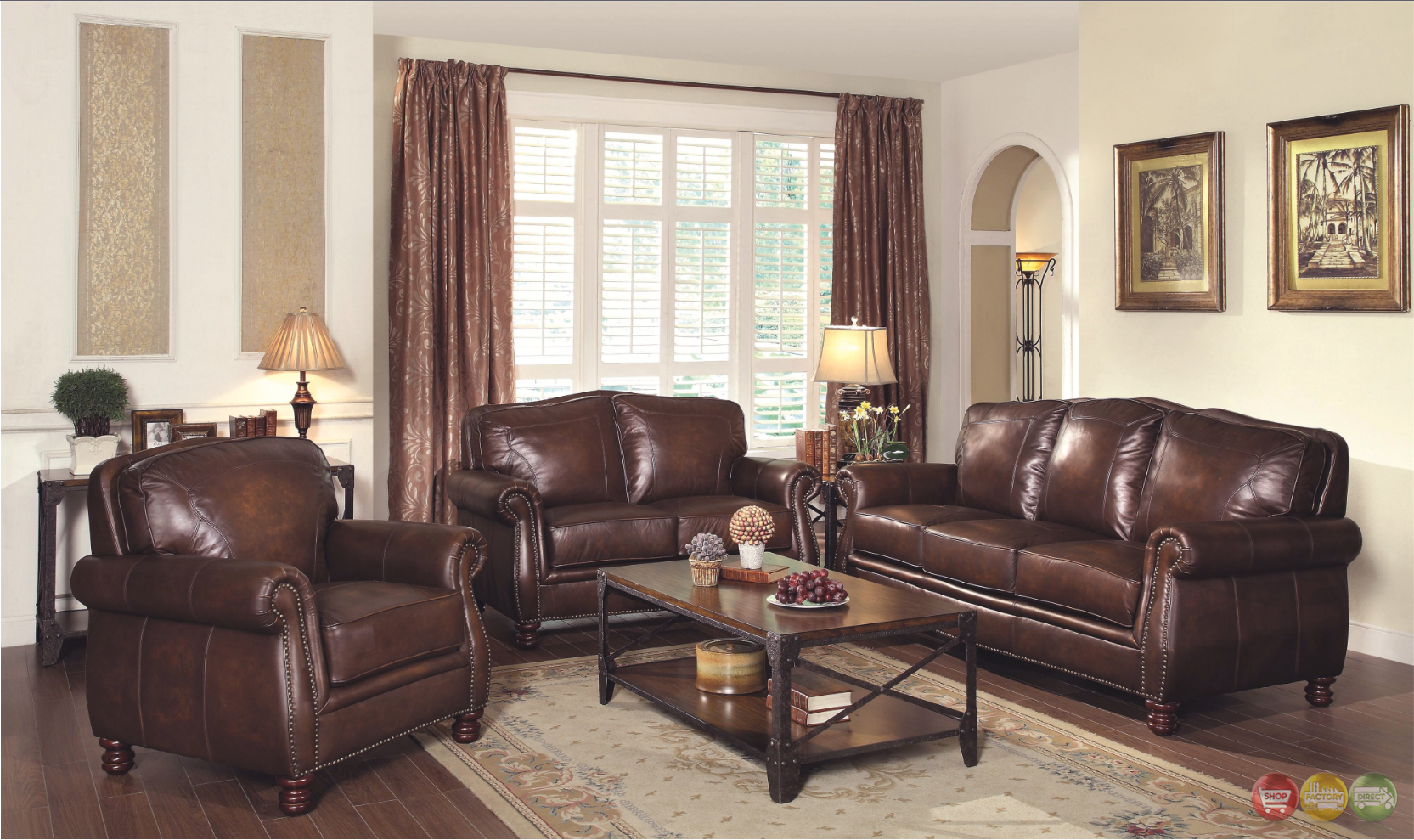 Montbrook traditional brown genuine leather sofa set for Traditional leather furniture