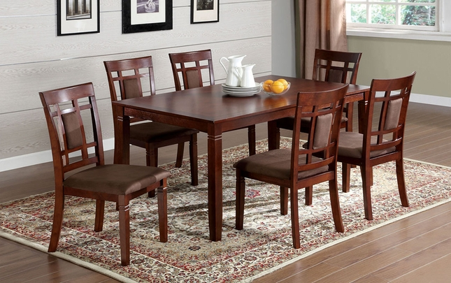 Montclair Dark Cherry Casual 7 Piece Dining Furniture Set Microfiber Seats