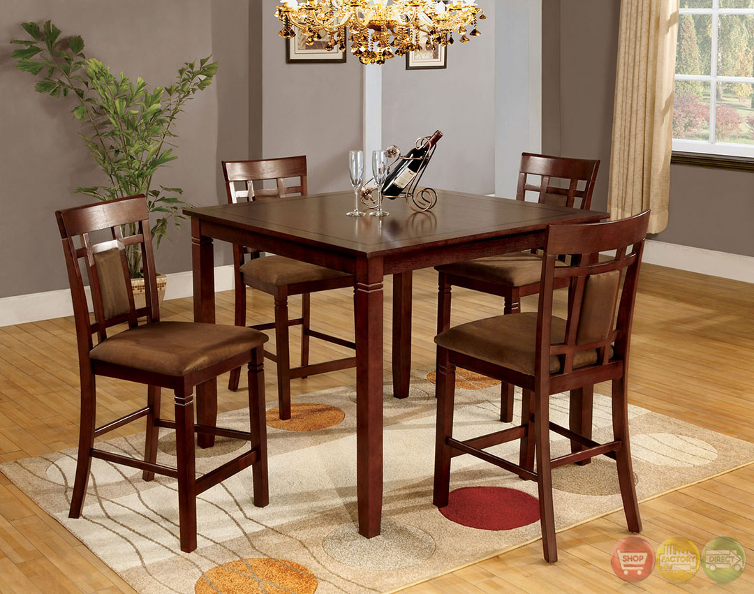 Montclair ii transitional dark cherry counter height for Counter height dining set