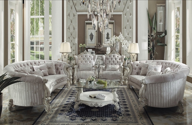 ivory living room furniture. Versailles 2pc Button Tufted Ivory Velvet Bone White Finish Sofa and Chair  Set Living