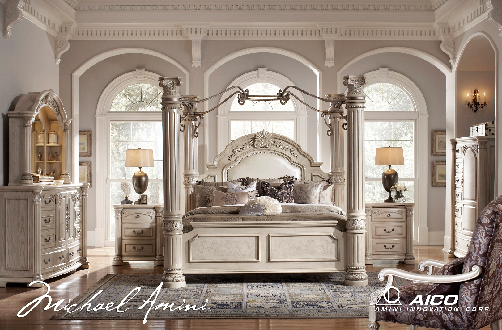 Michael amini monte carlo silver pearl ii traditional for Luxury bedroom furniture