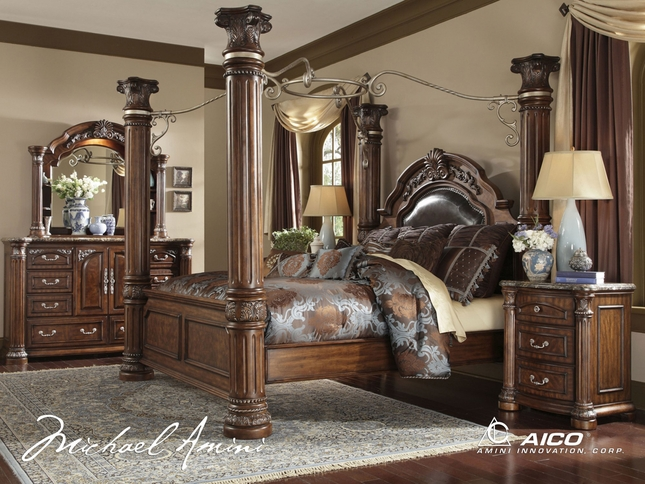 monte carlo bedroom set. Michael Amini Monte Carlo II Cafe Noir Poster Canopy Bed Traditional Luxury Bedroom  Set Sets Shop Factory Direct