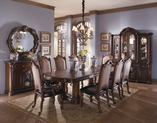 Michael Amini Monte Carlo II Traditional Luxury Dining Room Set Cafe Noir  By AICO