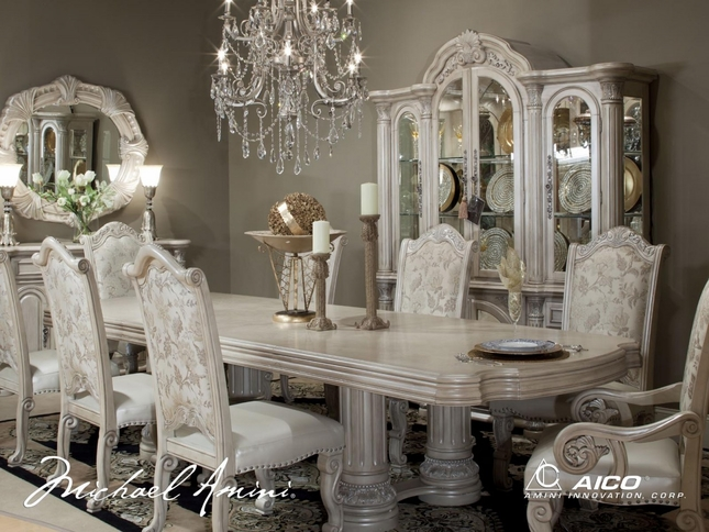 Traditional Dining Room Tables amini monte carlo silver pearl ii traditional dining room setaico
