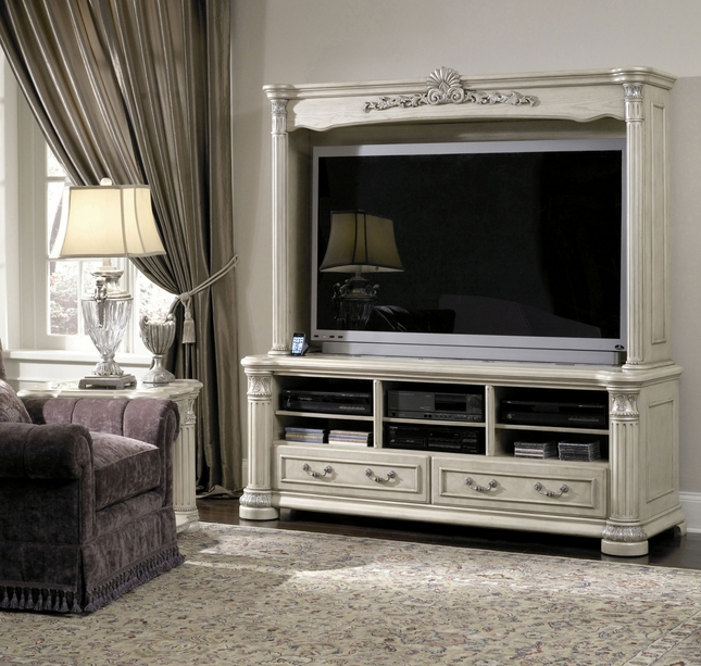 Michael Amini Monte Carlo Silver Pearl II Traditional Entertainment Unit by AICO