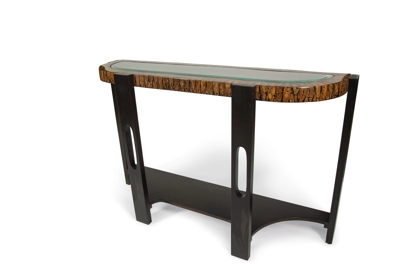 montecristo transitional curved sofa table with stone and glass top 15