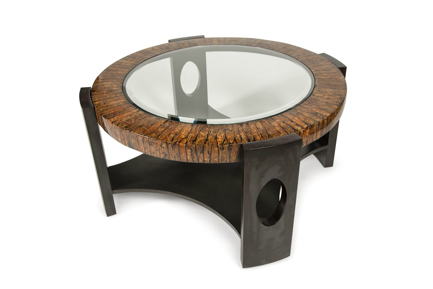 Montecristo transitional round coffee table with stone and for Round glass coffee table top