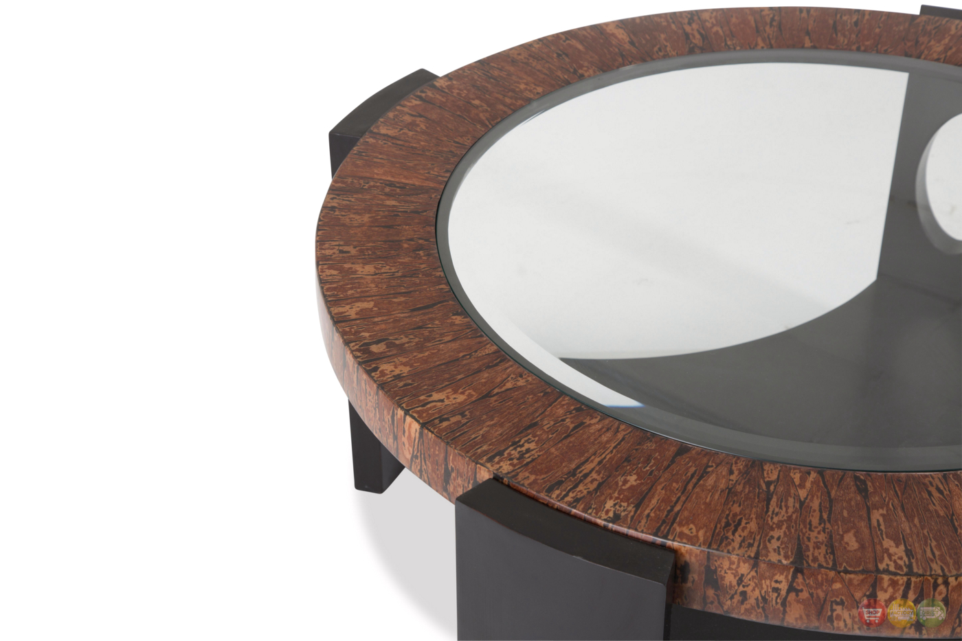 Montecristo Transitional Round Coffee Table With Stone And Glass Top