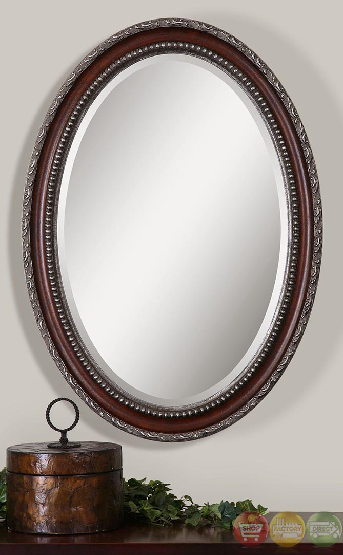 montrose traditional distressed dark mahogany silver oval vanity mirror 14196. Black Bedroom Furniture Sets. Home Design Ideas