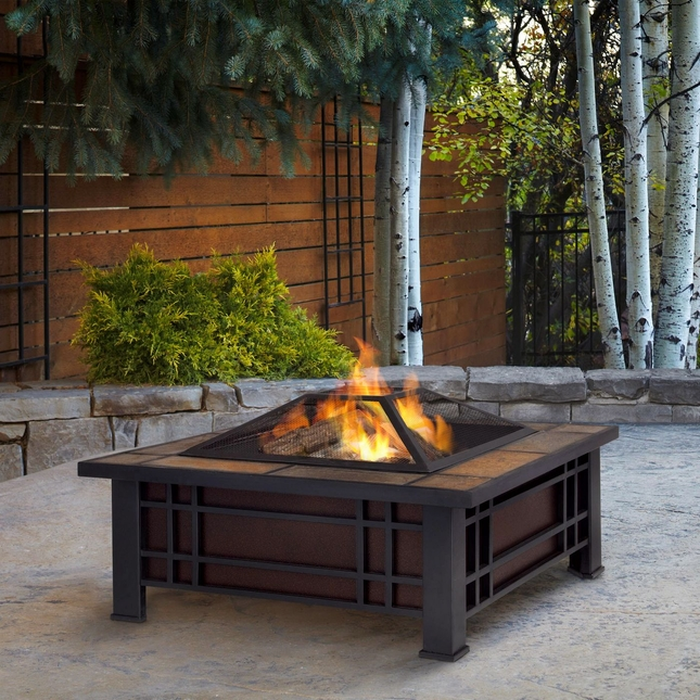 "Morrison Outdoor 34"" Square Fire Pit In Black With Natural Slate Top"