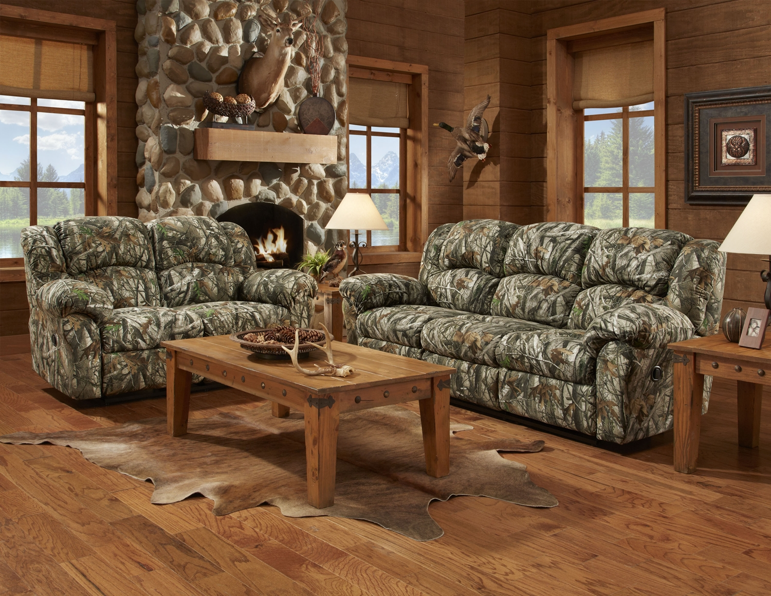 Mossy oak camouflage reclining motion sofa loveseat camo for Sectional living room sets