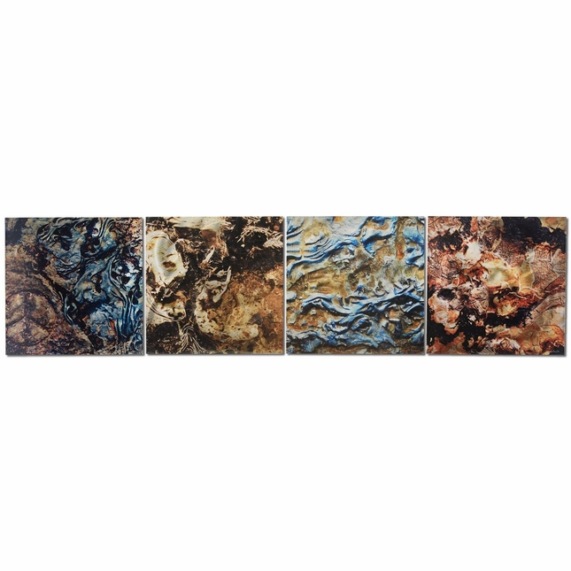 Mother Earth Earth Tones 4-Panel Modern Metal Wall Art L0031