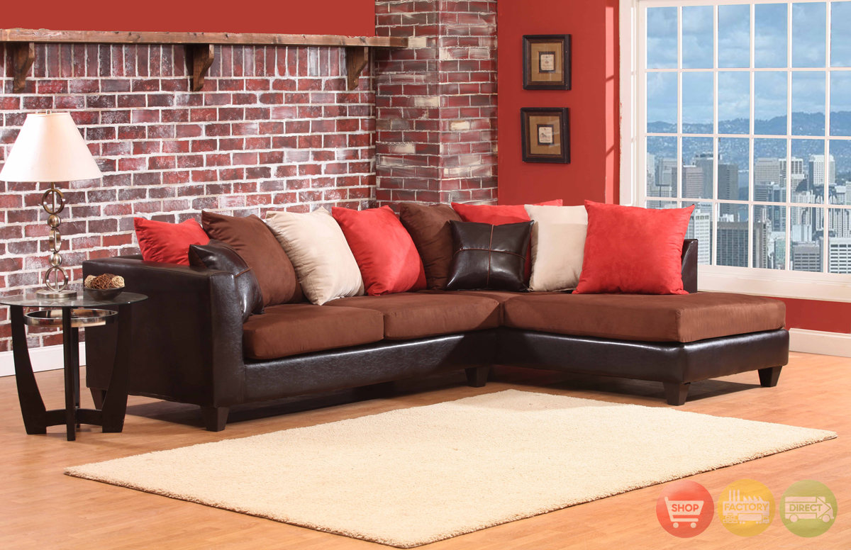 Multi Colored Sectional Sofa Loose Pillow Back 4185