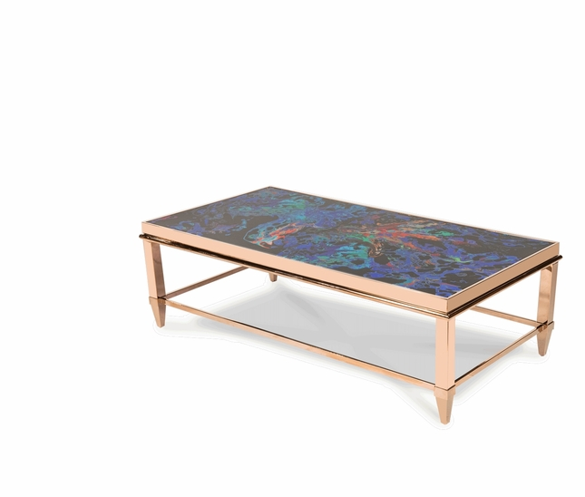 Mystique Transitional Rectangular Coffee Table with Rose Gold Finish