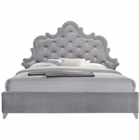 Nanette Modern Crystal Tufted Grey Velvet Queen Platform Bed with Silver Nailhead Trim