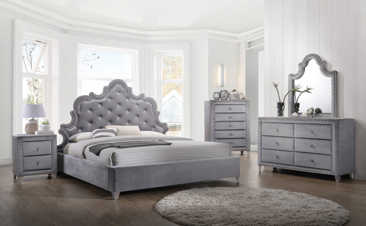 nanette modern crystal tufted grey velvet queen bed with silver nailhead trim