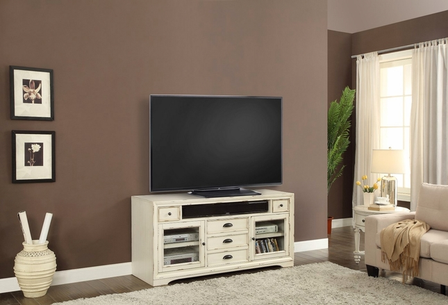 Nantucket Distressed 63 In Tv Console In Burnished White