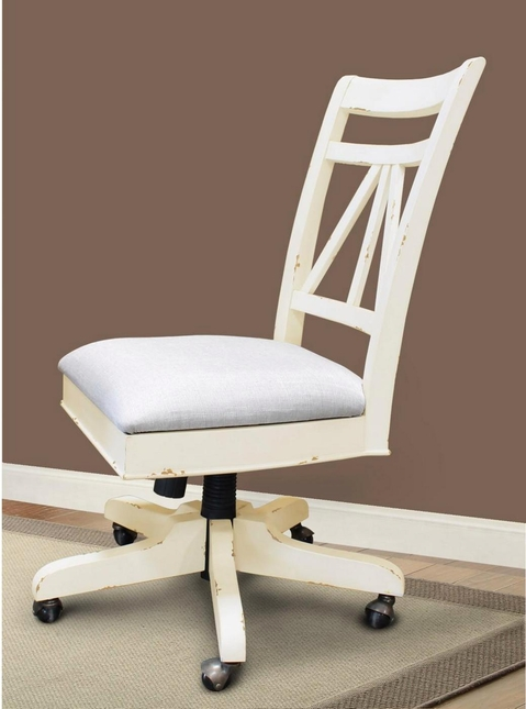 Nantucket Distressed Armless Desk Chair With Upholstered