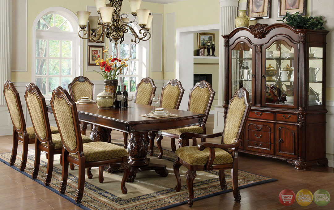 Napa valley elegant dark cherry formal dining set with for Cherry formal dining room sets