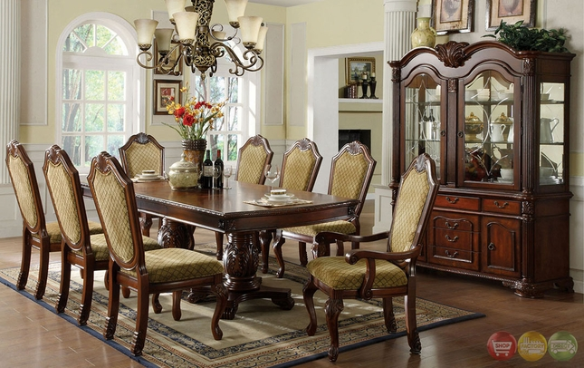 Napa valley elegant dark cherry formal dining set with double pedestals cm3005 - Elegant formal dining room sets ideas ...