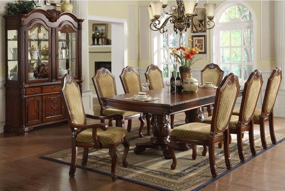 Napa Valley Elegant Dark Cherry Formal Dining Set With