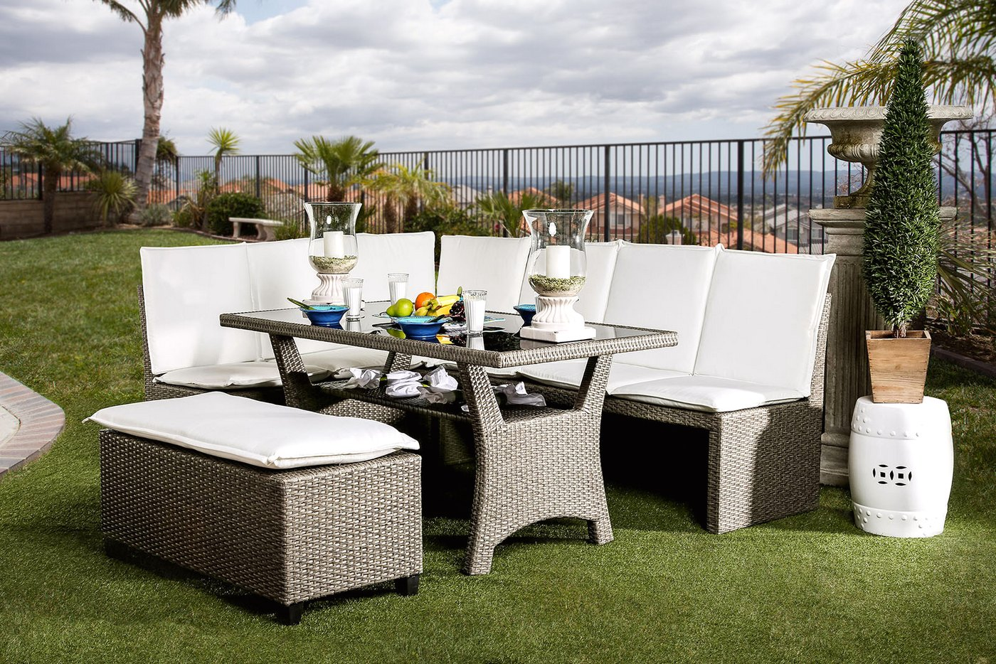 Sectional Dining Set : Naples casual outdoor patio sectional dining set in white