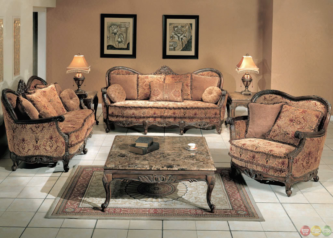 Natalie Rose Finish Antique Style Living Room Sofa And