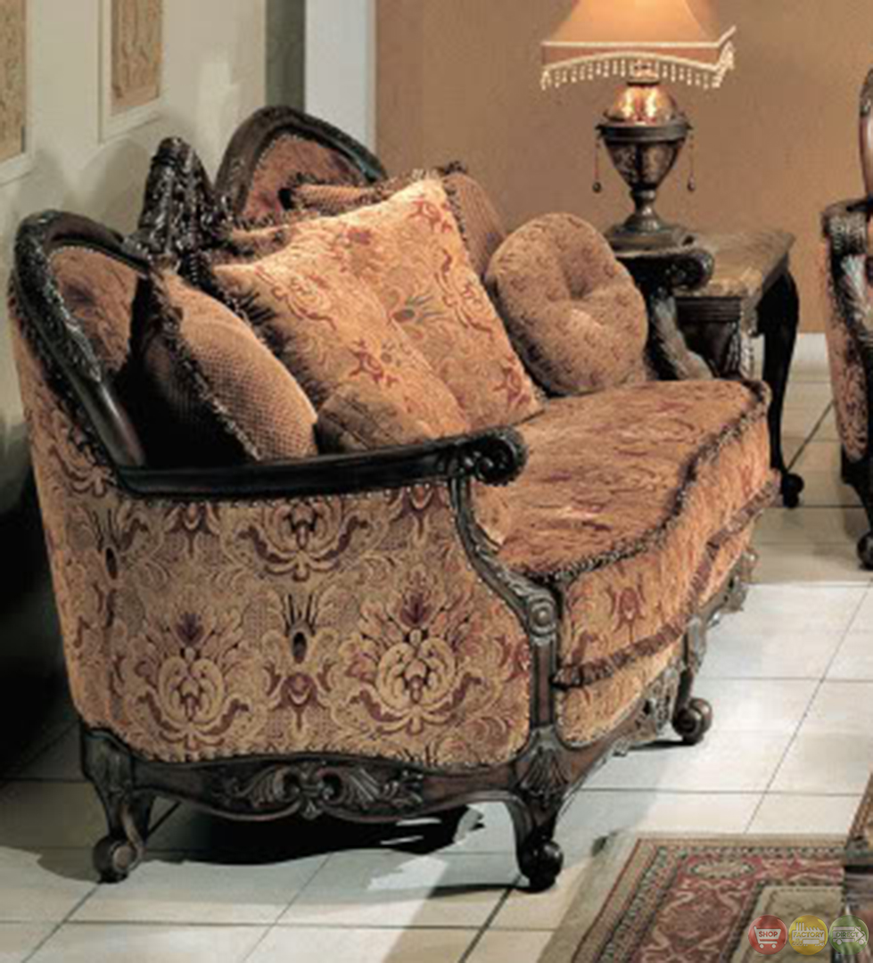 Natalie rose finish antique style living room sofa and loveseat set Antique loveseat styles
