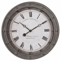 """Naval Porthole Wall Clock with Rust Gray Metal Frame 24""""x24"""" 06092"""