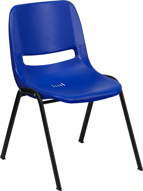 Navy Ergonomic Shell Stacking Chair With Black Frame And